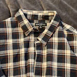 Plaid long sleeve button down with elbow patches